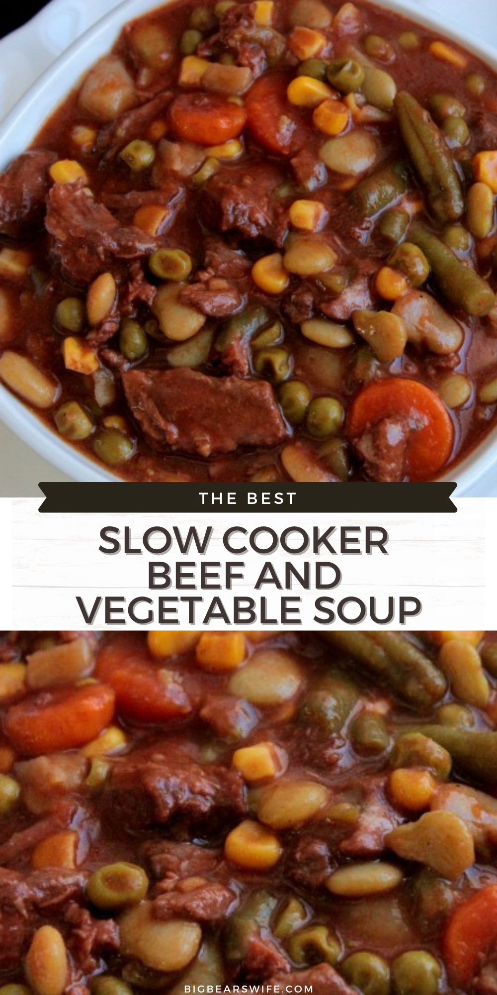 A Slow Cooker Beef and Vegetable Soup that is inspired by my grandmother's vegetable soup! We love this and make it all the time!  via @bigbearswife