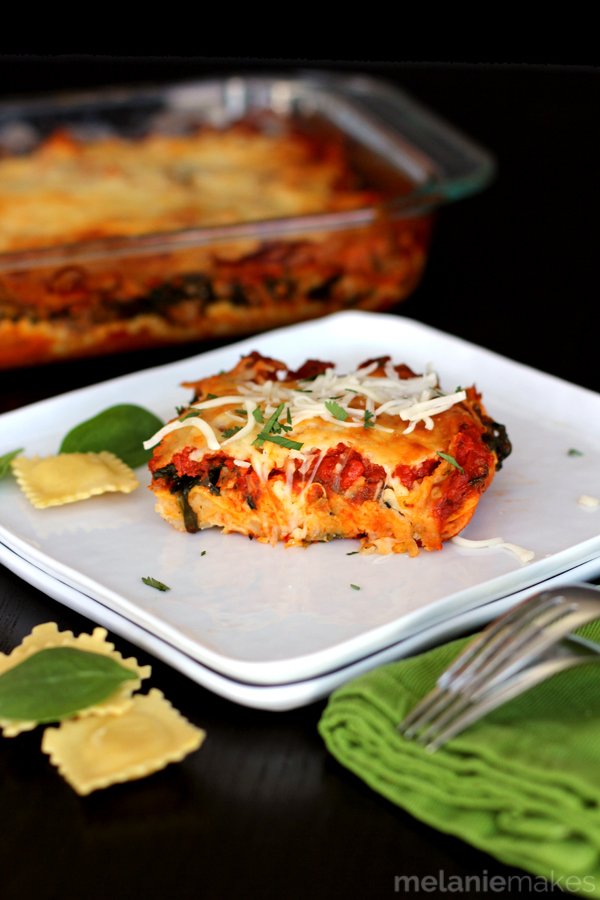 Ravioli and Spinach Lasagna from Melanie Makes