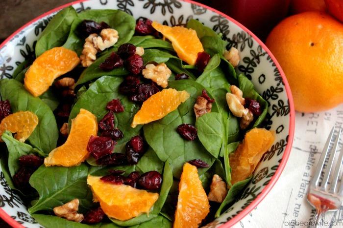 Homemade Pomegranate Vinaigrette with a Walnut, Orange and Cranberry Salad