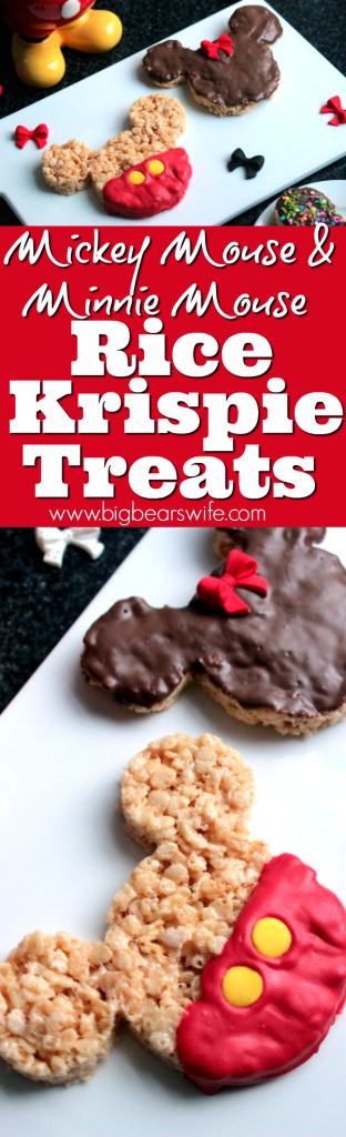 Mickey Mouse and Minnie Mouse Rice Krispie Treats - Are you itching to get back to Disney World? Love the Mickey Mouse and Minnie Mouse Rice Krispie Treats that you can get in the parks? Now you can make them at home!
