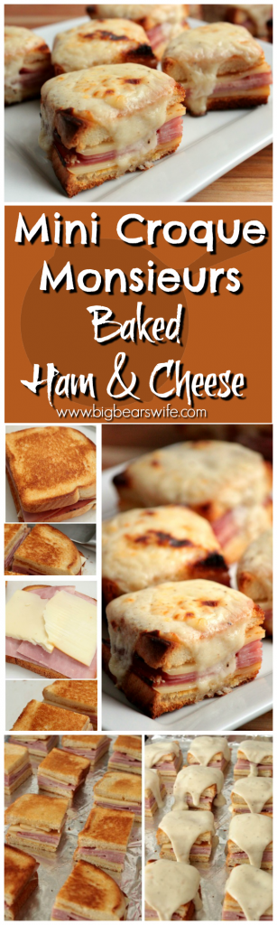 Mini Croque Monsieurs { Baked Ham and Cheese with Bechamel Sauce}