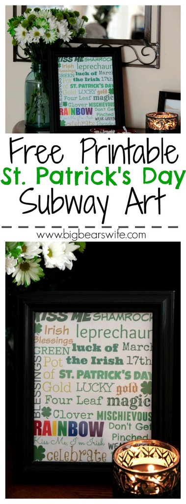 AFree Printable St. Patrick's Day Subway Art