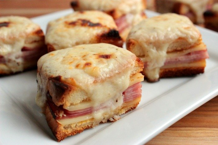 Mini Croque Monsieurs { Baked Ham and Cheese with Bechamel Sauce} #ShareaSandwich