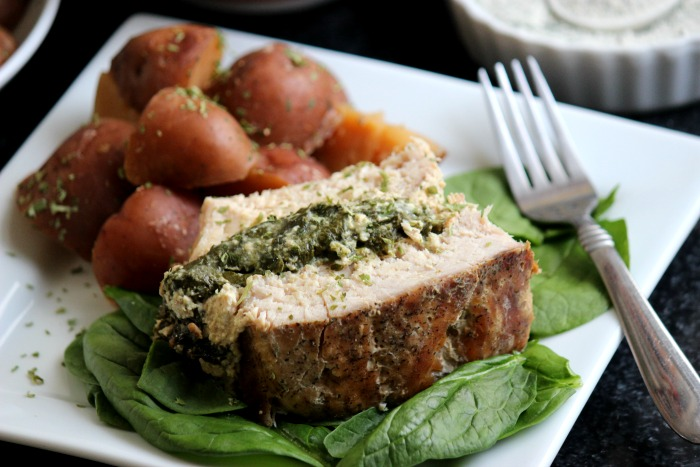 Slow Cooker Ranch Stuffed Pork Loin With Red Skinned Potatoes Pinkpork
