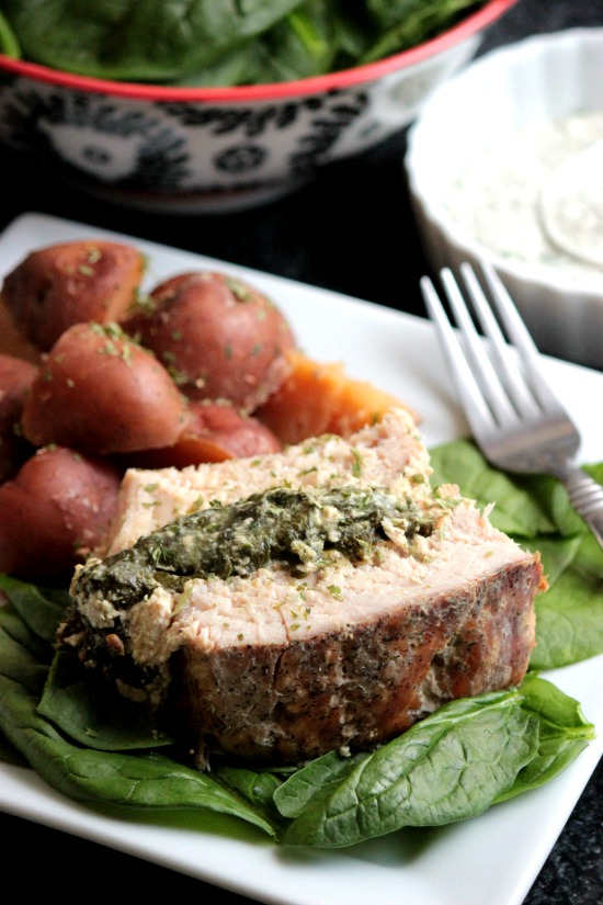 Slow Cooker Ranch Stuffed Pork Loin with Red Skinned Potatoes #PinkPork