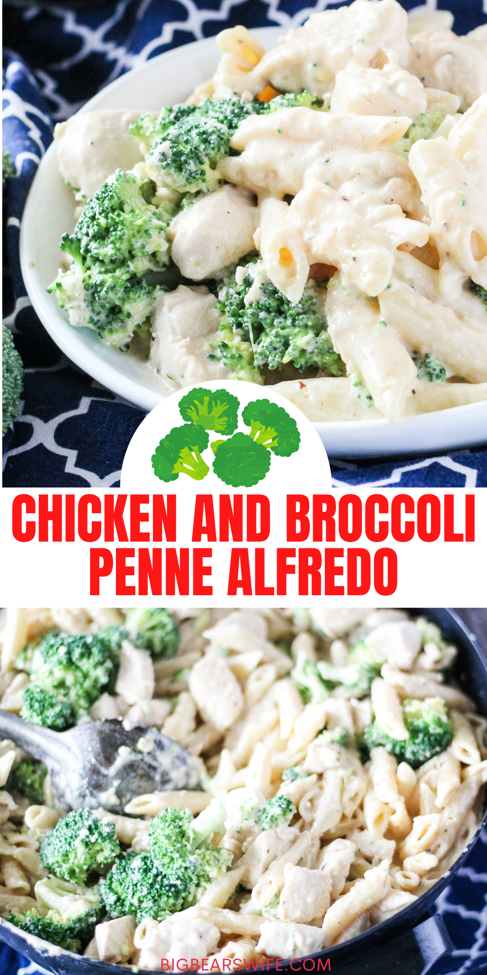 This Chicken and Broccoli Penne Alfredo is easy to whip up for dinner and delicious! This has been one of my most popular recipes for years!   via @bigbearswife