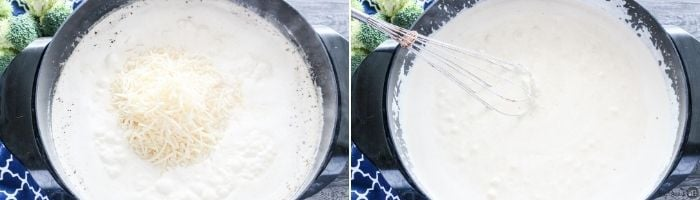 adding cheese to make alfredo