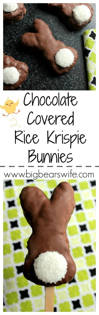 Chocolate Covered Rice Krispie Bunnies