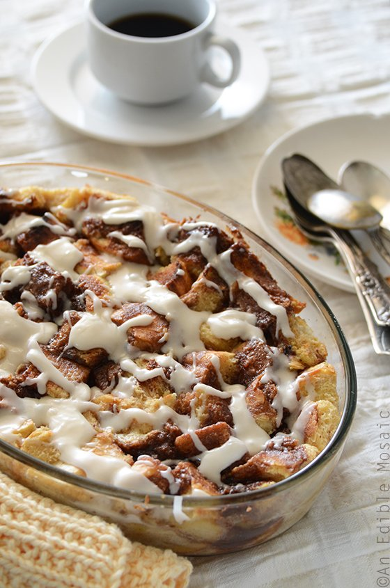 Cinnamon Bun Bread Pudding from An Edible Mosaic