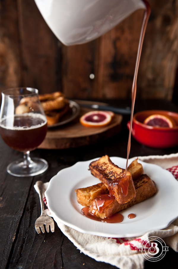 Drunk French Toast Sticks with Beer Blood Orange Syrup from The Beeroness