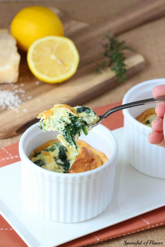 Spinach and Parmesan Egg Soufflé Cups  from Spoonful of Flavor