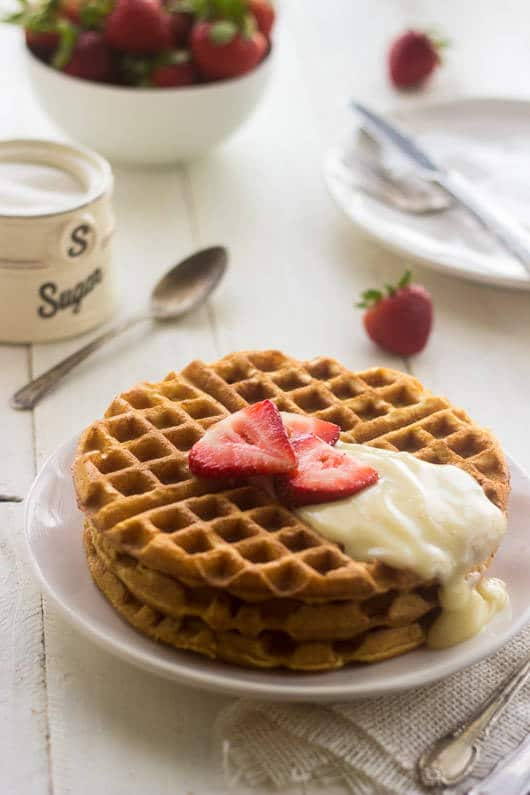 Whole Wheat Strawberries and Cream Waffles from Food Faith Fitness
