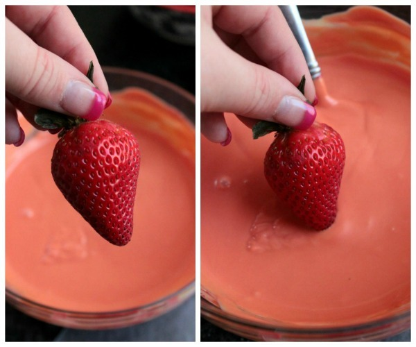 Dipping Strawberries for Spring Dessert Pudding Cups