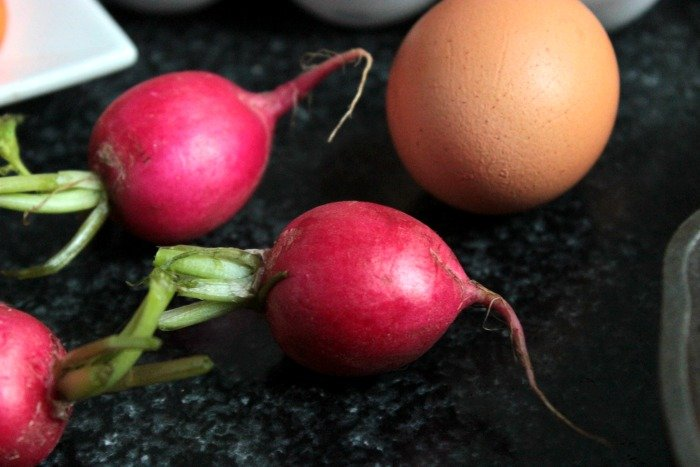 Radish and Eggs for the Baked Eggs over Maple Roasted Vegetables #BrunchWeek
