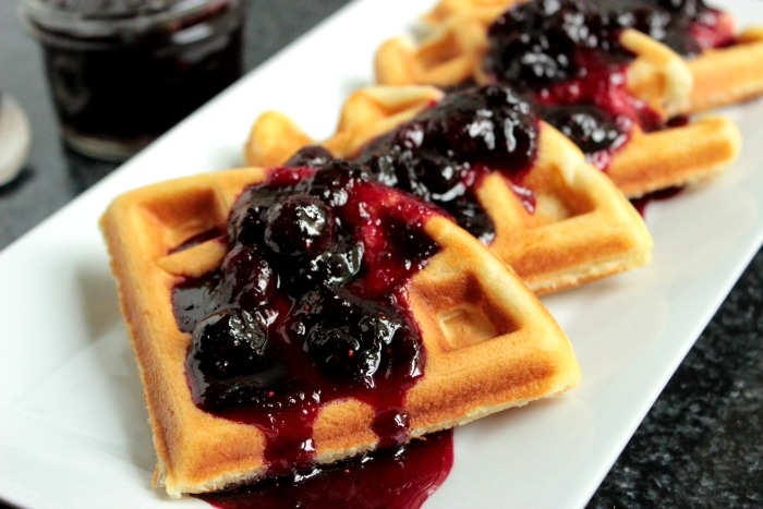 Buttermilk Waffles with Blueberry Compote #BrunchWeek