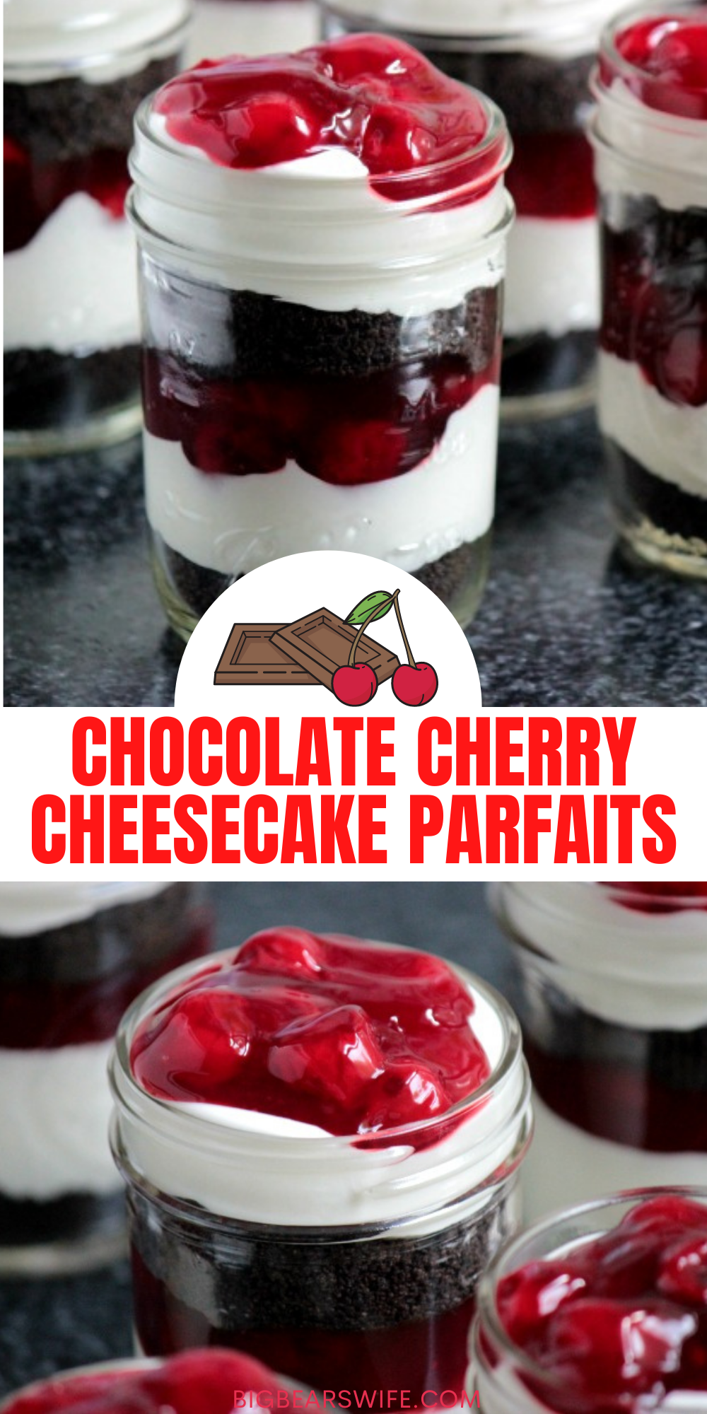 Layers of chocolate cookies, cherry pie filling and no bake cheesecake filling make up these super easy Chocolate Cherry Cheesecake Parfaits for dessert! via @bigbearswife