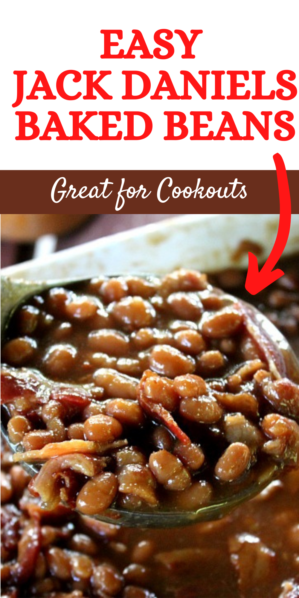 Super easy and tasty Jack Daniels Baked Beans are perfect for cookouts and holidays! Great as a side dish for burgers, hot dogs and anything else you whip up on the grill this summer!  via @bigbearswife