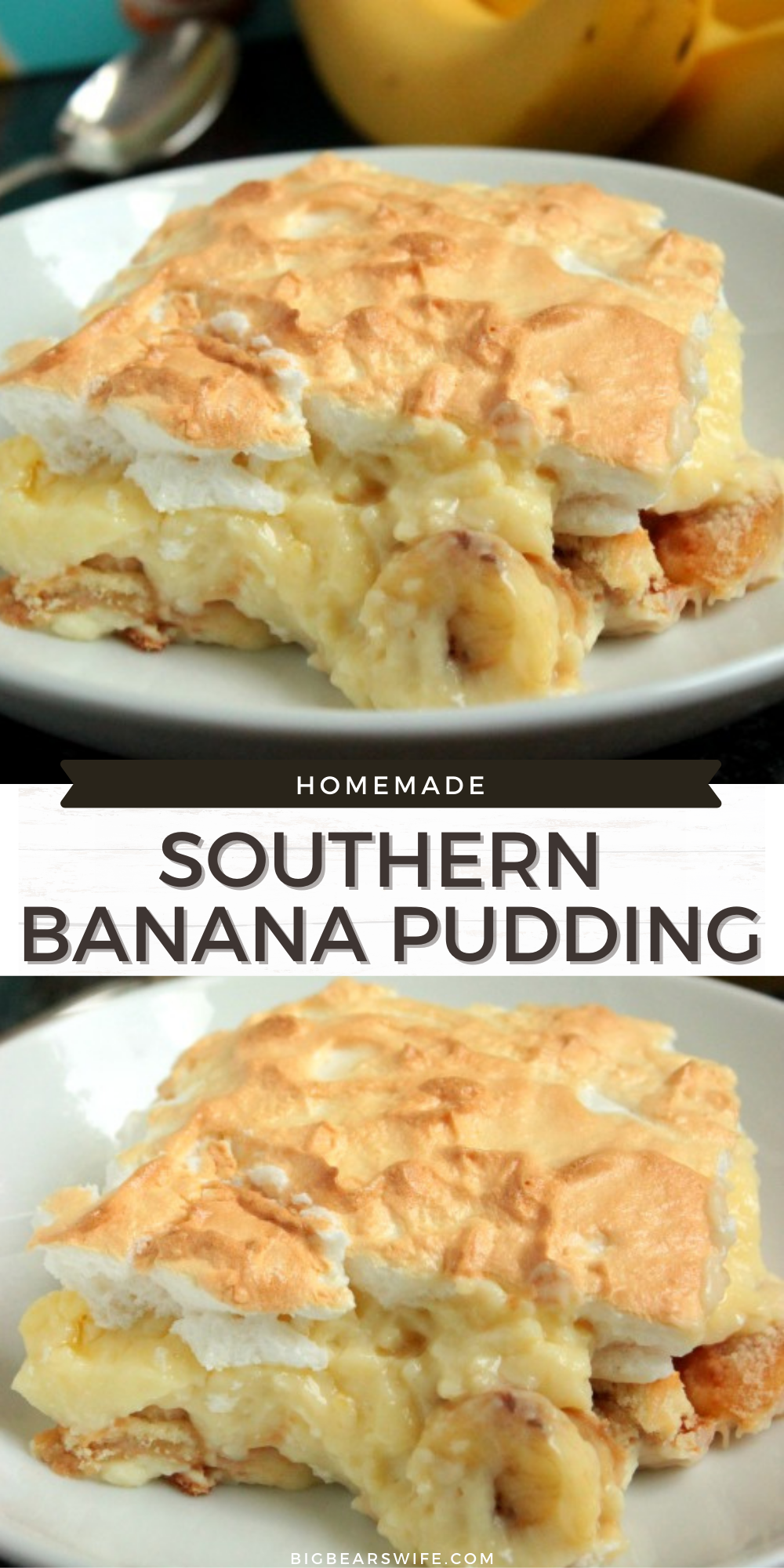 Serve is hot or cold, this Homemade Southern Banana Pudding is going to be loved by all! Roasting the banana gives it a richer banana flavor too! via @bigbearswife