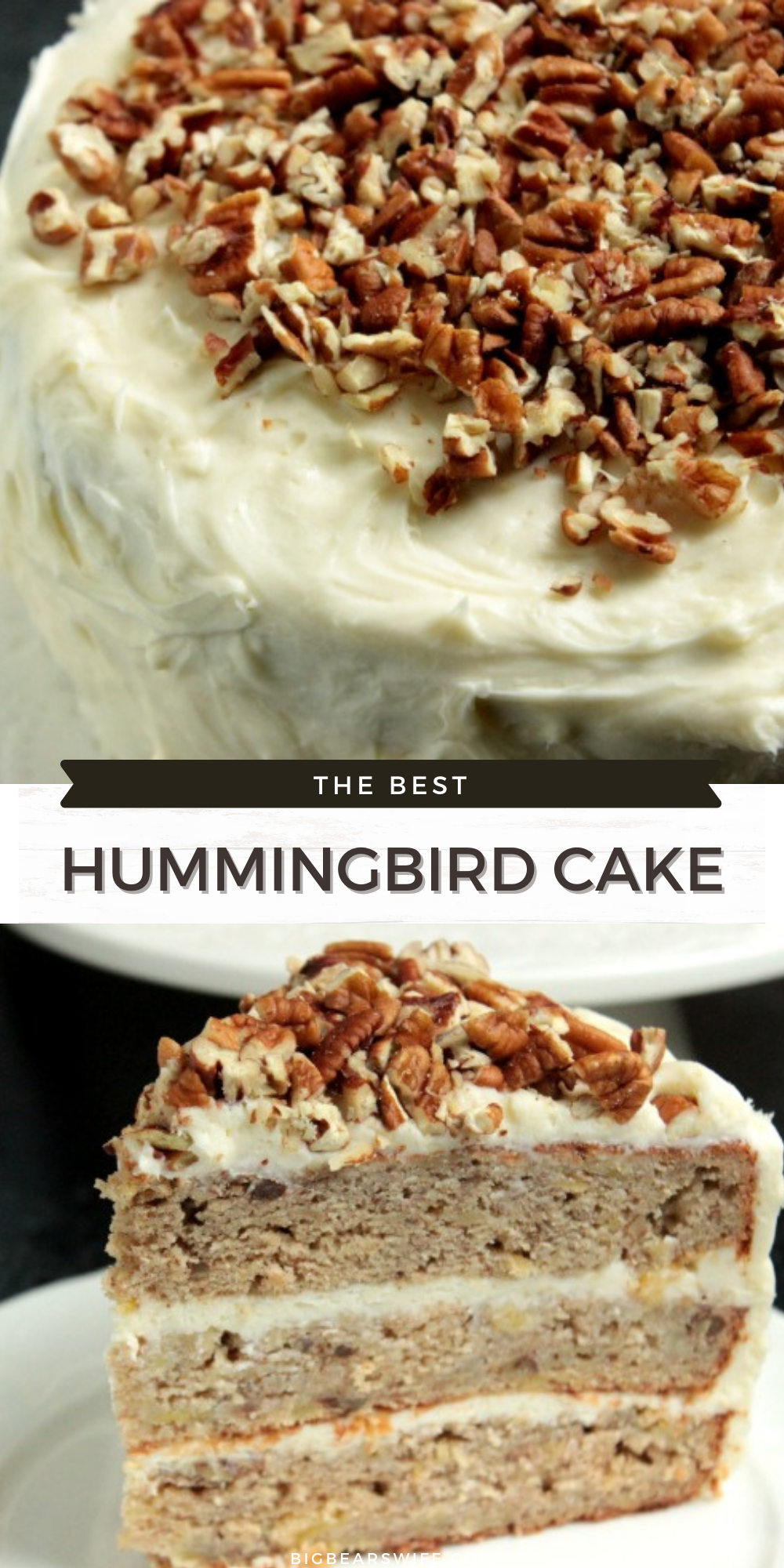 Hummingbird Cake is a spice cake loaded with pineapples, bananas and pecans. It's also layered and frosted with a thick cream cheese icing! via @bigbearswife