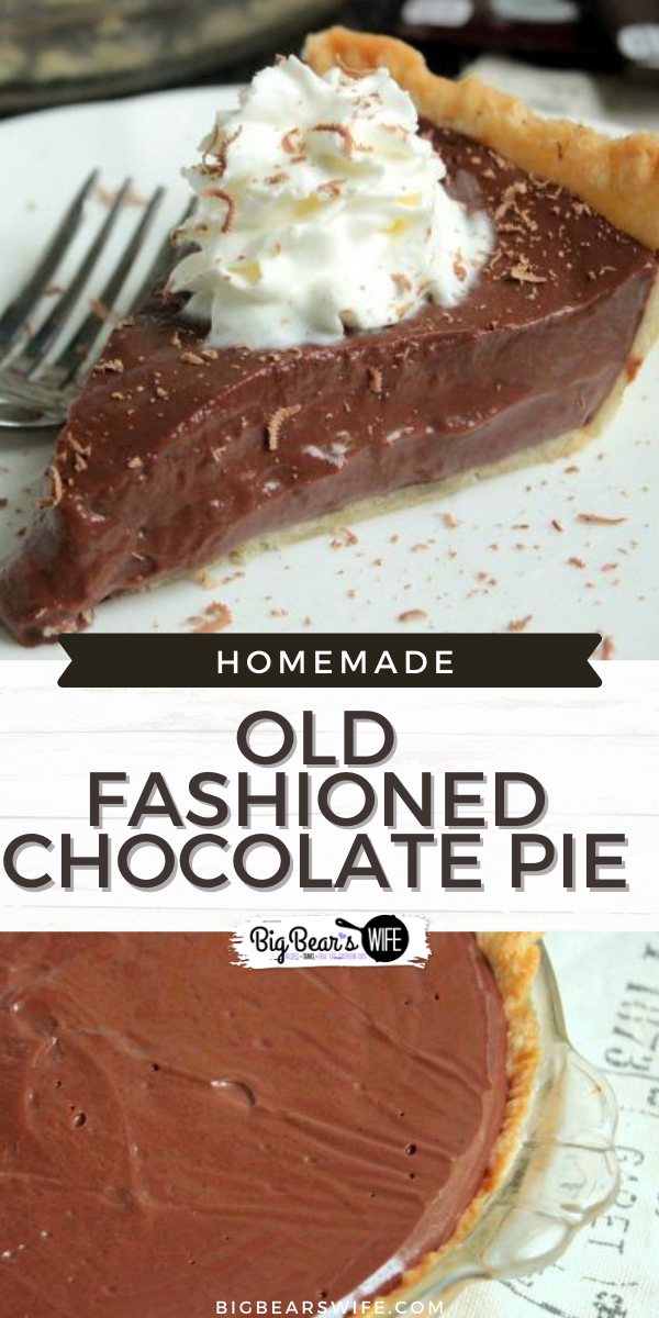 Chocolate Pie - This old fashioned chocolate pie recipe is one of the very best that I've made. It was passed down to me from my Father in Law who fell in love with it from a Hershey chocolate Cookbook years ago!