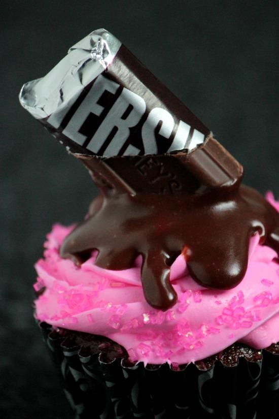 Pink Melting Candy Bar Cupcakes