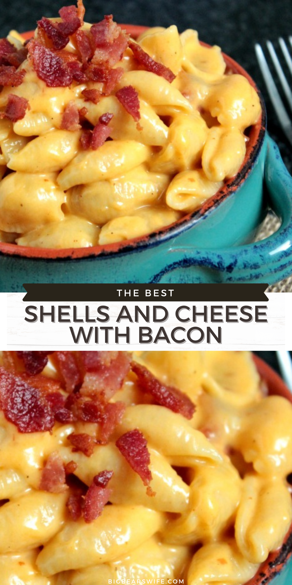 This Shells and Cheese with Bacon is a fun mac and cheese recipe that's made with small shells, Bacon Smoked Sea Salt and bacon! via @bigbearswife