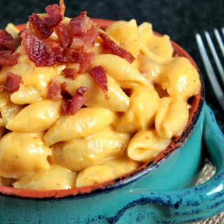This Shells and Cheese with Bacon is a fun mac and cheese recipe that's made with small shells, Bacon Smoked Sea Salt and bacon!