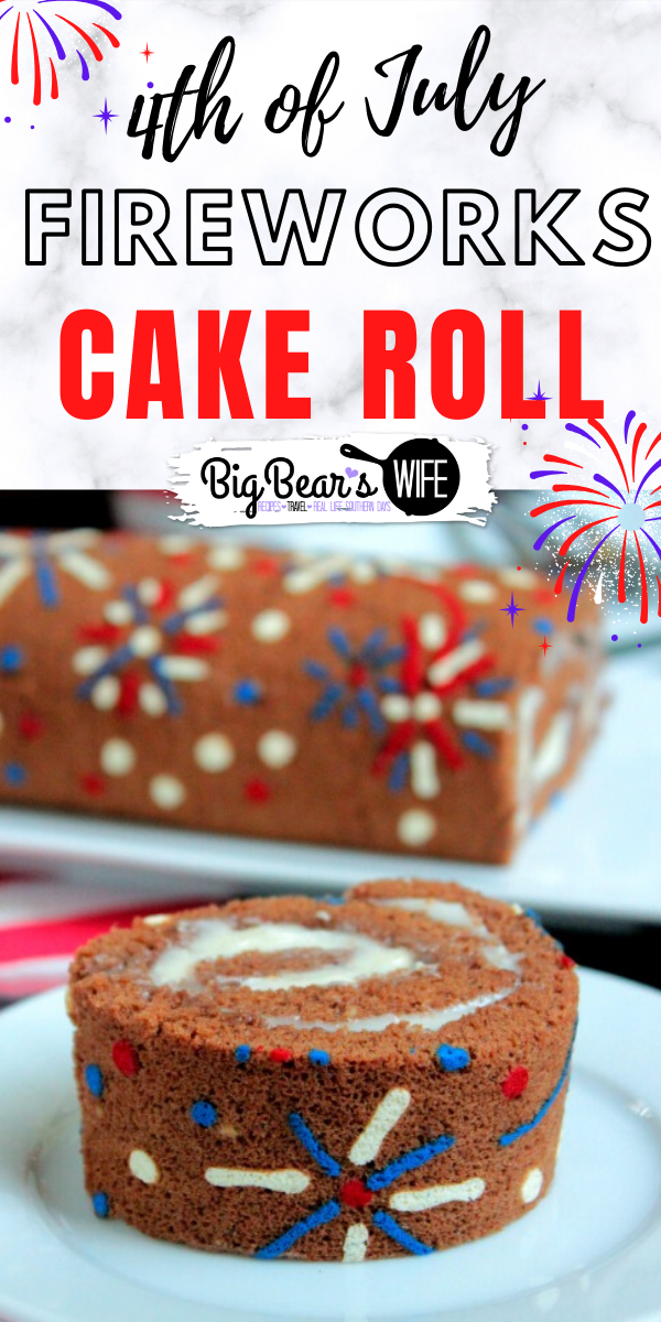 This beautiful 4th of July Fireworks Cake Roll is a chocolate sponge cake that's decorated with red white and blue fireworks and perfect for the 4th of July!