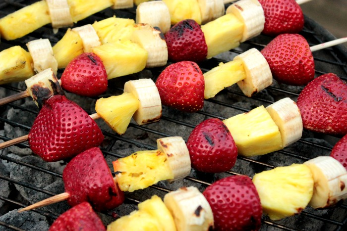 Grilled Fruit Kabobs with Brown Sugar Whipped Cream