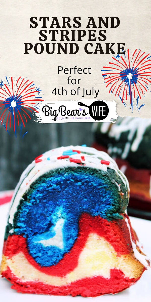 This Stars and Stripes Pound Cake screams RED, WHITE AND BLUE with every bite. Perfect with frosting or fresh fruit on top.