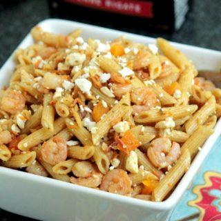 Almond,Shrimp and Feta Pasta Salad