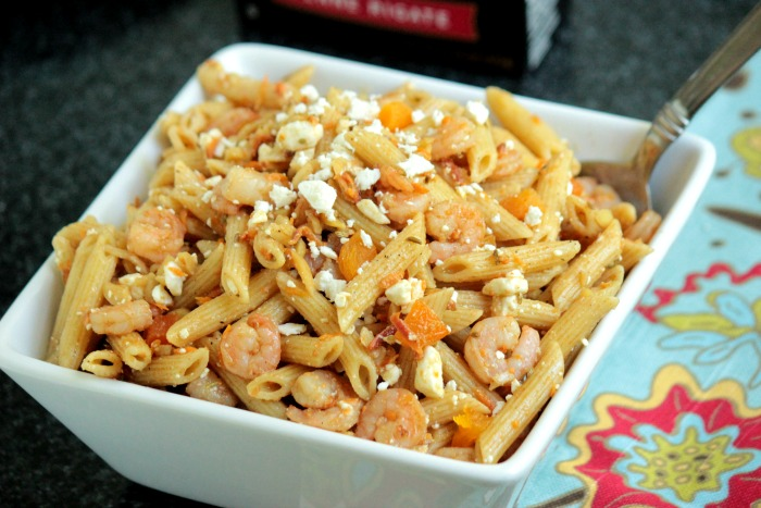 Almond,Shrimp and Feta Pasta Salad
