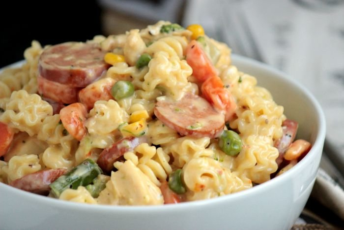 Cheesy Chicken & Sausage Pasta