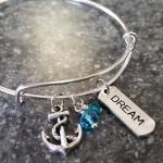 Blue Anchor Dream Charm Bracelet Beach Bangle Bracelet In the Etsy Shop