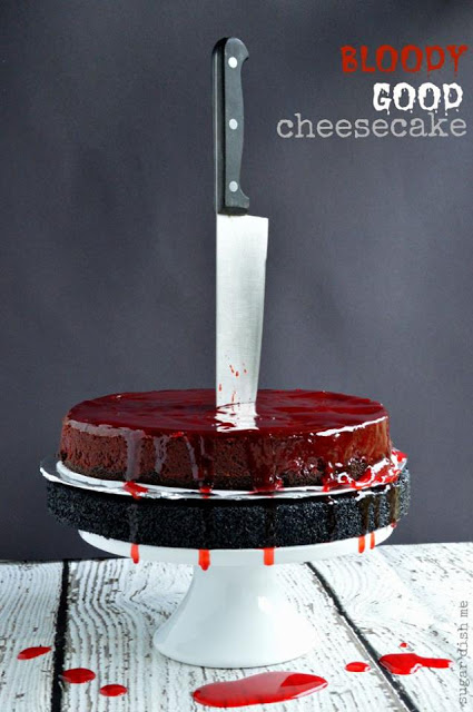 Spooky Bloody Good Cheesecake from SugarDishMe.com  #TheHalloweenProject