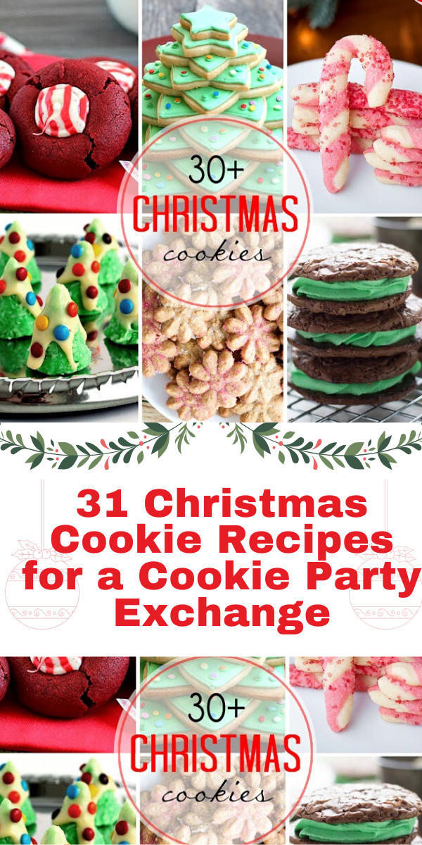 31 Christmas Cookie Recipes for a Cookie Party Exchange - You'll love all of these fantastic Christmas cookie recipes that are perfect for a Christmas Cookie Exchange Party!