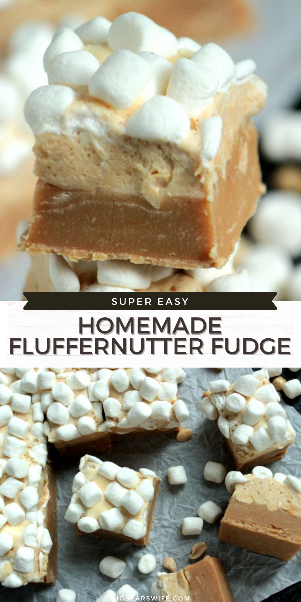 This Homemade Fluffernutter Fudge has layers of Peanut Butter and Marshmallow Peanut Butter Fudge stacked on top of each other for the perfect Fluffernutter dessert!   via @bigbearswife