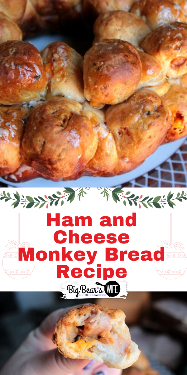 Ham and Cheese Monkey Bread  - Perfect for using up leftover holiday ham or great as a party appetizer for the holiday dinner! via @bigbearswife