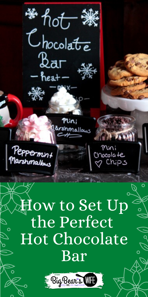 How to Set Up the Perfect Hot Chocolate Bar - When the weather starts to get cooler it's time to set up the Hot Chocolate Bar! Grab some mugs, some hot chocolate, peppermint sticks & mini marshmallows! Here are some ideas on How to Set Up the Perfect Hot Chocolate Bar!