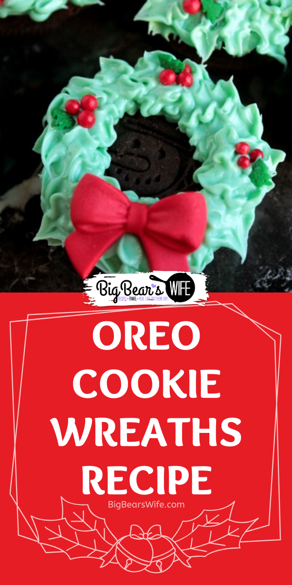 Oreo Cookie Wreaths -  These no bake Christmas cookies are so cute to make and share with everyone this holiday season! No real decorating skills required!