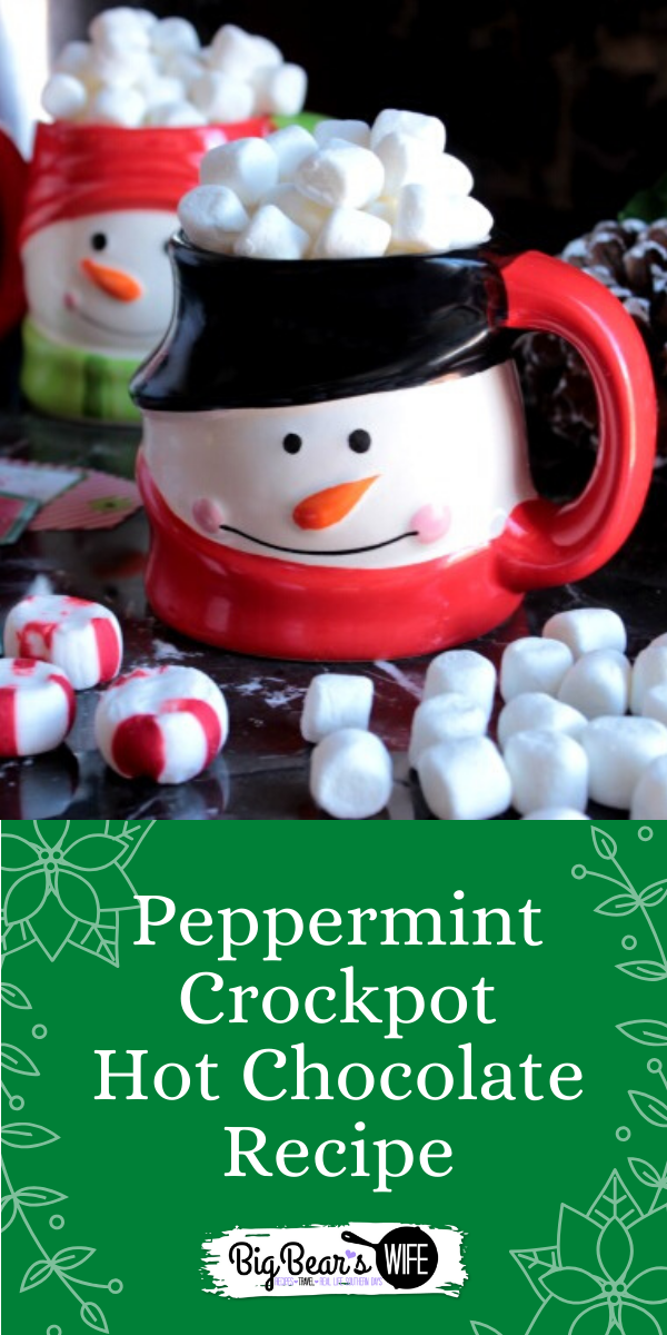 This Peppermint Crockpot Hot Chocolate is great for parties and evening at home with the family! Snuggle up on the couch with a movie and enjoy warm mugs of hot coco throughout the evening!