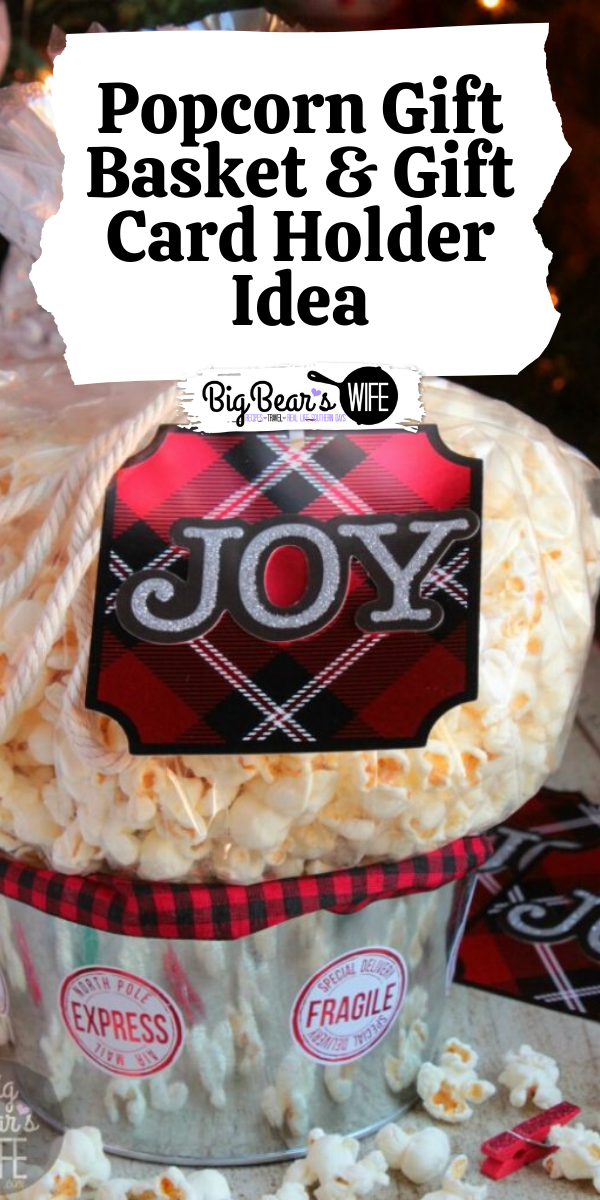 Popcorn Gift Basket & Gift Card Holder Idea - An easy DIY Popcorn Gift Basket & Gift Card Holder Idea + Over 40 Popcorn Recipes to Fill it with!