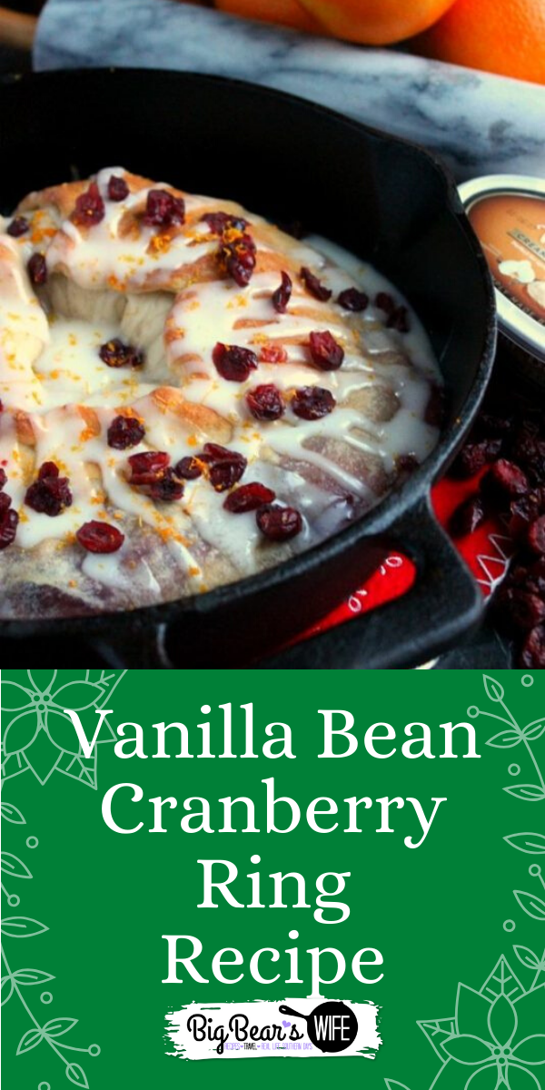 This Vanilla Bean Cranberry Ring has a sweet sugar glaze on top and a tangy vanilla bean spread with cranberries in the middle. It's perfect with coffee or hot chocolate. via @bigbearswife