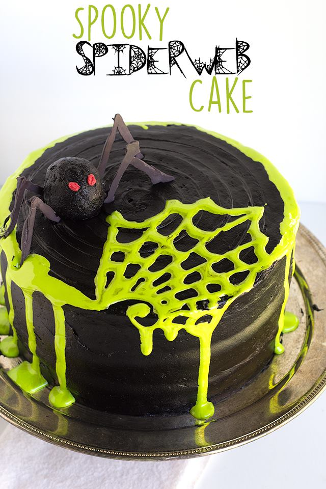 Spooky Spider Web Cake from Cookiedoughandovenmitt.com