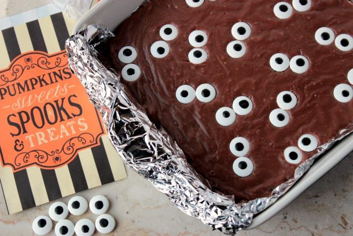 Spooky Eyeball Fudge Brownies in the pan