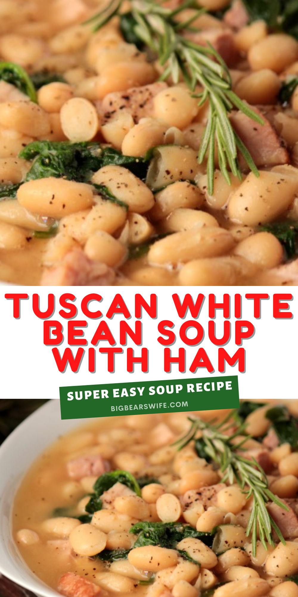 This Tuscan White Bean Soup with Ham is packed full of Cannellini white beans and ham! It's an easy soup that's ready in under 45 minutes.This would be great with leftover ham from Thanksgiving or leftover turkey!  via @bigbearswife