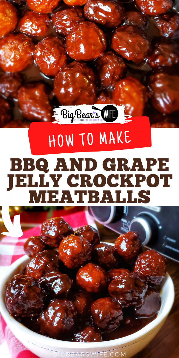 These super popular BBQ and Grape Jelly Crockpot Meatballs are always a hit at Thanksgiving at Christmas! They're super easy to make and everyone always loves them! I had no idea how easy they were until my mom showed me how to make them! via @bigbearswife