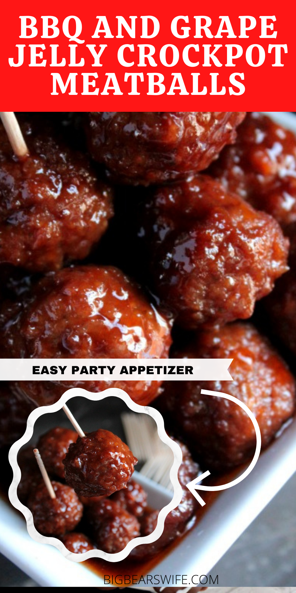 BBQ and Grape Jelly Crockpot Meatballs - a Holiday classic that we love to make each year! Meatballs slow cooked in grape jelly and BBQ sauce! - These super popular BBQ and Grape Jelly Crockpot Meatballs are always a hit at Thanksgiving at Christmas! They're super easy to make and everyone always loves them! I had no idea how easy they were until my mom showed me how to make them! via @bigbearswife