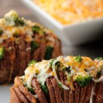 Broccoli and Cheese Hasselback Potatoes #12Bloggers
