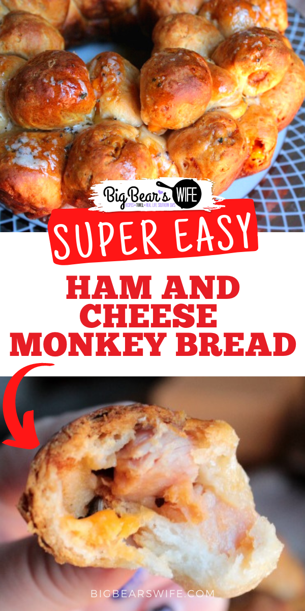HAM AND CHEESE MONKEY BREAD via @bigbearswife